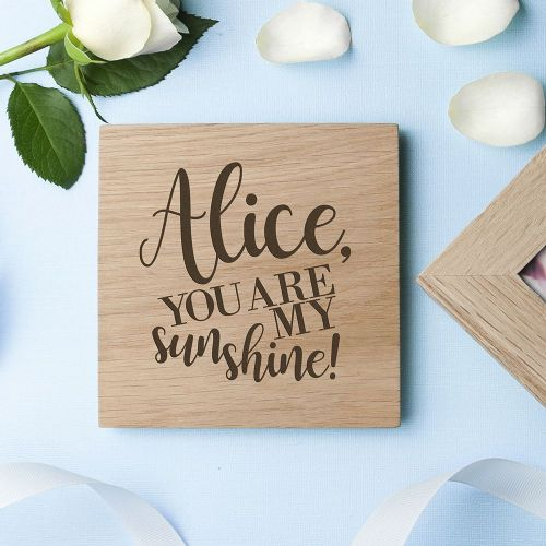 Engraved My Sunshine Oak Photo Cube